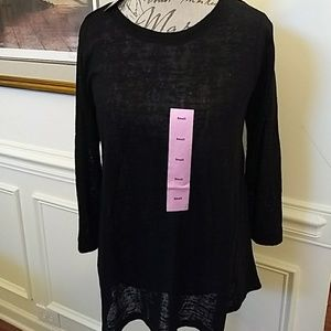 NEW Philosophy Black Knit High Low Top Small S